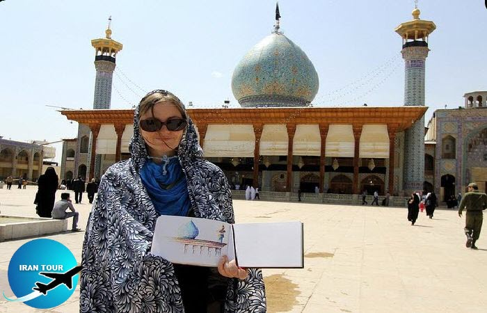Shah Cheragh Mausoleum and Tourists - Shiraz