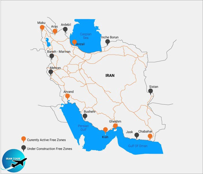 Iran has seven free zones. Visitors can enter the Iranian free zones, but they are prohibited from moving to other parts of the country.