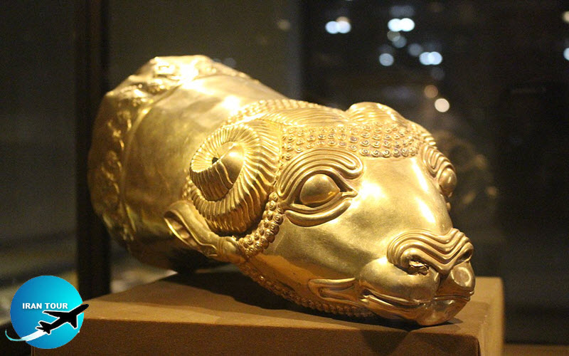 A golden rhyton of ram's head, Persian Empire in Medians era, 7-6th century BC, located in Reza Abbasi Museum